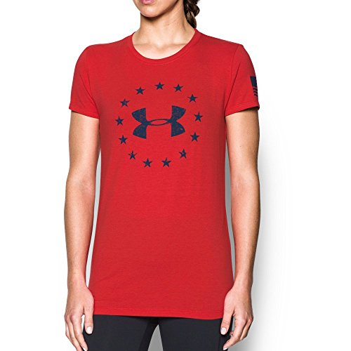 Under Armour Womens W's Freedom Logo 2.0,Red /Blackout Navy, Small