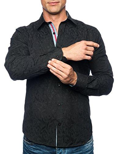 Michael & David Men's Designer Fashion Casual L/S Fitted Shirts Black Sm MD491