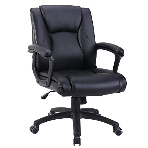 Zenith Ergonomic PU Leather Mid Back Executive Office Chair with Adjustable Height, Computer Chair Desk Chair Task Chair Swivel Chair Guest Chair Reception Chairs (Black) ()