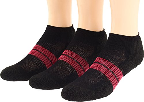 (Thorlos Women's 84N Micro Mini 3-Pair Pack Black/Dark Pink Medium)