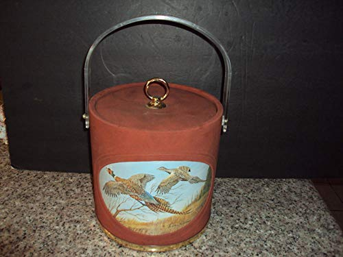 Vintage Retro Mid Century Modern ICE Bucket Rust Faux Suede Pheasant