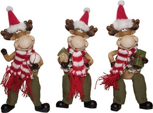 Transpac Imports, Inc. Moose Shelf Sitter Festive 4 x 3 Resin Christmas Holiday Figurines Set of 3 ()