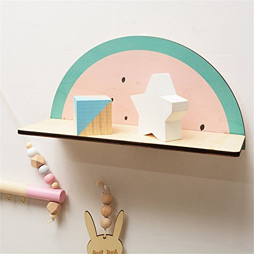 cheerfullus Watermelon Shape Wooden Storage Shelf Decorative Display Wall Hanging Children's Room Living Room Bedroom Wall Decoration by cheerfullus (Image #2)