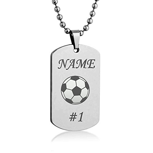 Soccer Costumize Engrave Dog tag Necklace Pendant 24 inch Stainless Steel Chain Giftpouch and Keyring