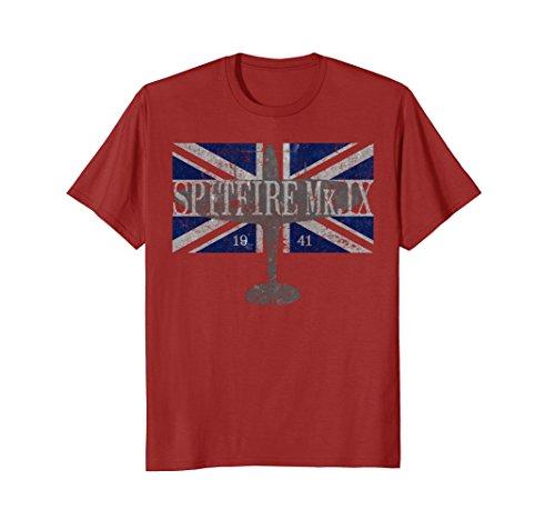 British Wwii Pilot - Spitfire Mk. IX WWII British Flag Vintage Airplane T-Shirt