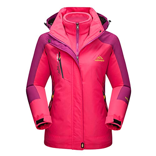 MAGCOMSEN 3 in 1 Jacket Women Waterproof Winter Jacket Warm Ski Coat Windproof Jacket Raincoat Women Rose Red