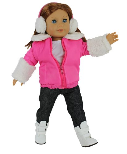 Dress Along Dolly Winter Snow Outfit for American Girl Dolls: 5pc Set w Jacket, Shirt, Jeans, Boots, and Earmuffs