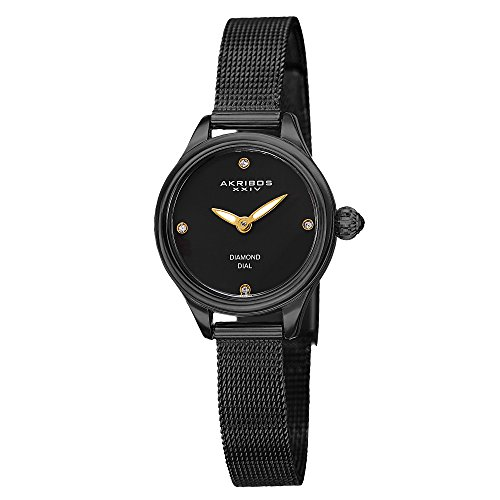 Akribos XXIV Women's AK873BK Round Black Watch With Mesh Bracelet