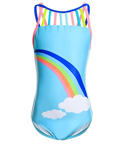 Rainbow Girls Swimsuit - BELLOO Little Big Girls Straps Rainbow One Piece Bathing Suits, Blue, 7-8