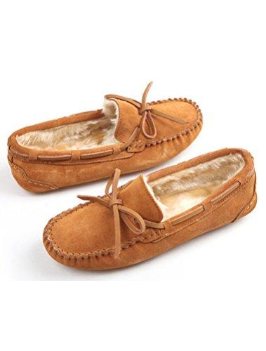 MatchLife Women Vintage Flat Fur Winter Shoes Style1-Khaki UmYo7mN7