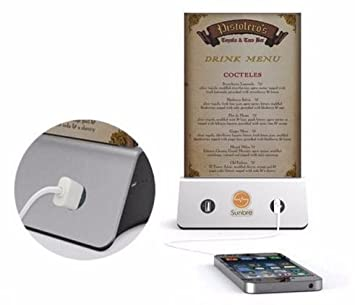 Spacenergy, Puerta Menu A5 con cargador Mobile 4 USB Power Bank de 10000 mAh 3 amperios con menu integrado para restaurantes bar Terrazas expositor de ...