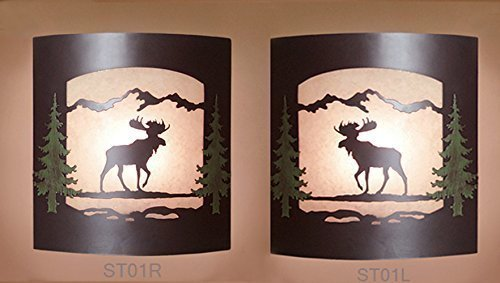 Pair of 2 Wall Sconce Rustic Moose Lights, Cabin Decor Lamp, Hand-Painted Left & Right Facing