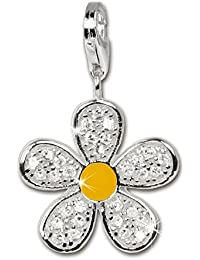 SilberDream Charm flower white Zirconia 925 Sterling Silver Pendant Lobster Clasp FC4119
