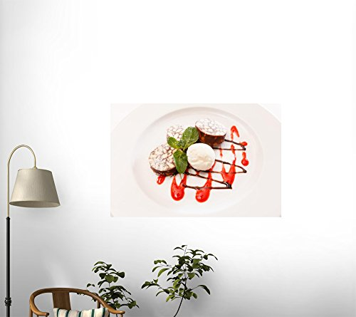 """Chocolate Dessert with Ice Cream - 24""""W x 16""""H - Peel and Stick Wall Decal by Wallmonkeys"""