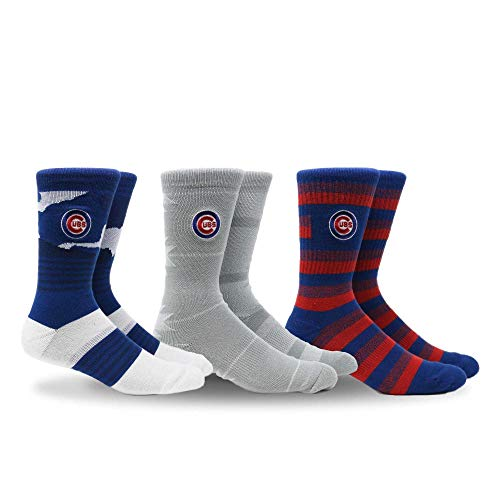 PKWY by Stance MLB Men's Clubhouse Collection 3-Pack Socks (Medium, Chicago Cubs)