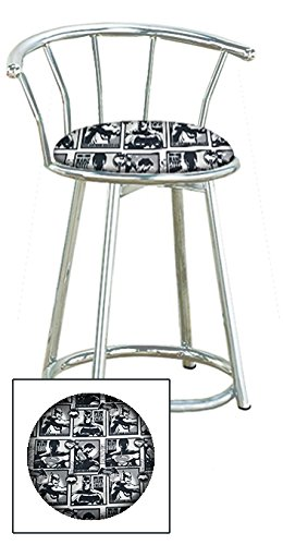 Custom Arcade Gaming Stool in a Chrome Metal Finish with a Swivel Seat and Backrest Featuring a Batman Comic Book Hero Themed Seat Cushion! (Batman vs Superman on Cotton)