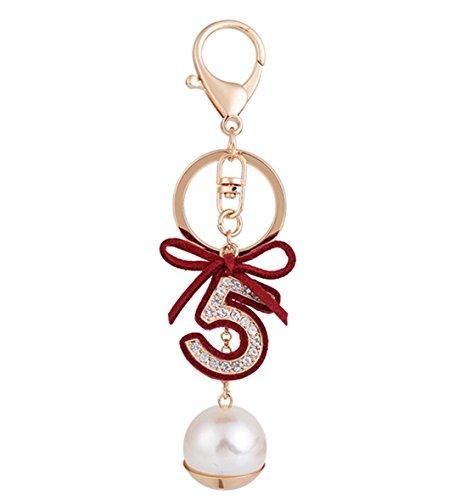(Freedi Crystal Key Chain Sparking Keyring Rhinestone Letter Five Pearl Purse Bag Charm Pendant Gift for Girl Woman)