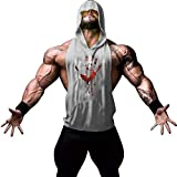 Gerlobal Mens Bodybuilding Stringer Hoodie Workout Fitness Gym Tank Top