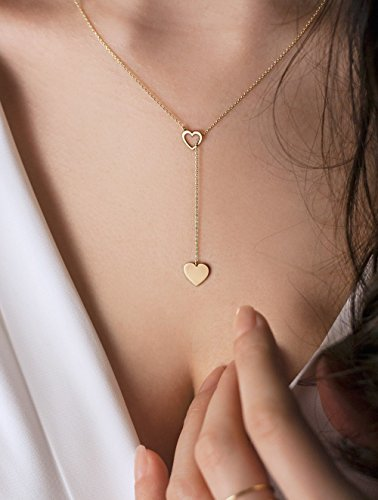 Gold Heart Lariat, 9K, 14K, 18K Gold Necklace, Yellow Gold, Gift For Her, Gold Heart Necklace, Heart Lariat Necklace /code: 0.003 ()