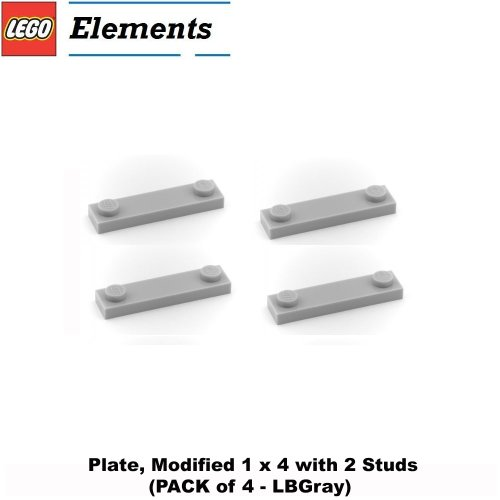 Lego-Parts-Plate-Modified-1-x-4-with-2-Studs-PACK-of-4-LBGray