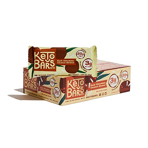 KETO BARS: The Original High Fat, Low Carb, Keto Snack Bars. Simple Ingredients, Gluten Free, Vegan. (Dark Chocolate Coconut Almond, 10 Count)