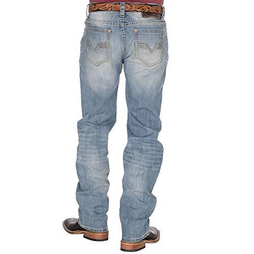Rock and Roll Cowboy Mens Light Wash Double Barrel Straight Leg Jean 38x36 Blue