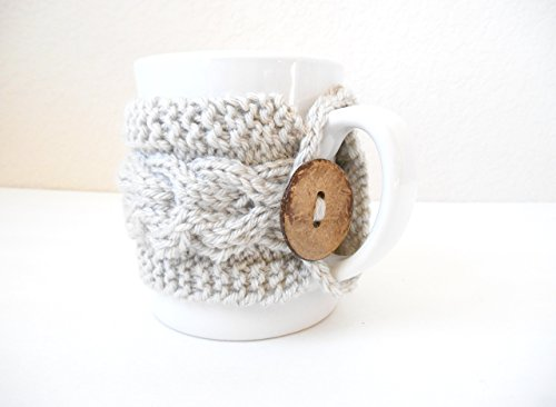 (Hand Knit Cabled Mug Cozy)