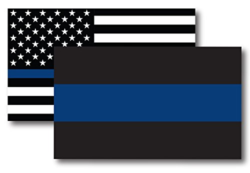 (Thin Blue Line and Thin Blue Line American Flag Magnet Decal 3x5 - Heavy Duty for Car Truck SUV - 2 Pack - in Support of Police and Law Enforcement Officers)