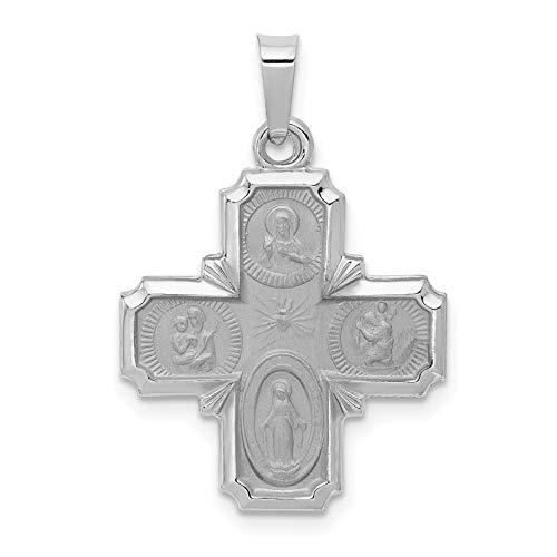 (14k White Gold Hollow Four Way Cross Cruciform Pendant 22x18mm)