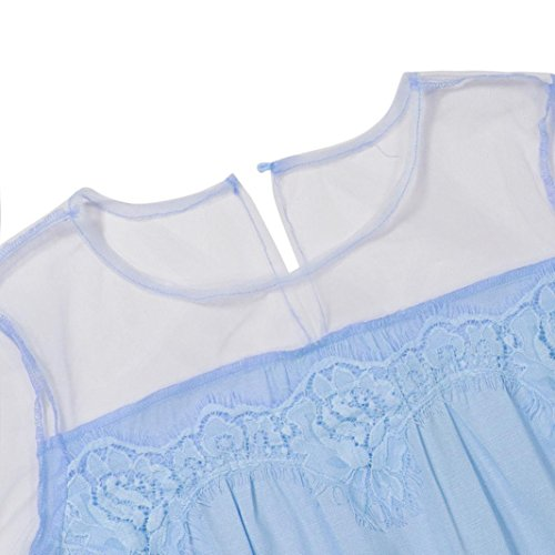 Plage Été shirt T Décontracté Tops À Confortable Haut 2018 Manches Perspective Taille Lace Blouse Femmes Splice Longues Vetements Mode Lche Bleu Chemisier Slim Adeshop Grande 5EzqvA0wxn