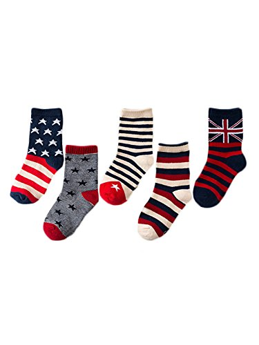 [Zando Kid Child Youth Cotton Novelty Design Unisex 5 Pairs Crew Socks for Boys and Girls 5 Pack National Flag S (4-6 years] (Cute Couples Halloween Outfits)