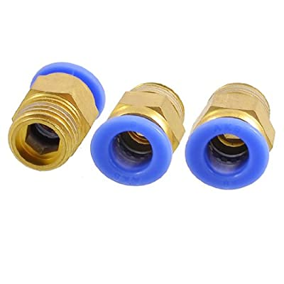 """uxcell 3 x 1/4"""" Thread One Touch Push In Pneumatic Quick Connector for 8mm Tubing"""