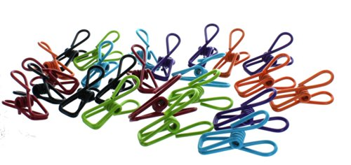 Set of 24 Everything Clips in Assorted Colors Multi-Purpose Household Coated Wire