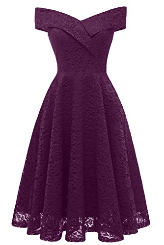 Sunvary Off Shoulder Prom Cocktail Dresses Short Lace Bridesmaid Princess Dress 2018 for Graduation Casual Wear-L- Grape
