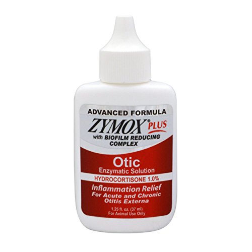 ZYMOX Otic Plus Ear Solution | The Only No Pre-Clean Once -a-Day Dog and Cat Ear Solution | Natural Enzyme Formula | Veterinarian Recommended | Patented Enzyme Formula | Contains Hydrocortisone for Comfort (Formula Advanced Plus)