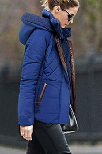 Addensare Trapuntata Cappotti Vintage Autunno Con Casual A Giacche Invernali Donna Incappucciato Pulsante Lunga Cappotto Cerniera Tasche Blu Calda Manica Giacca Trapuntato Fashion pdcnwfWIdx