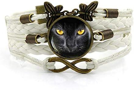 XIANNU Pulseras para Mujer,Vintage Pulsera Multicapa,Animal Gato Negro de Ojos Amarillos,Tiempo Blanco de Piedras Preciosas Mariposas Trenzado Pulsera para Mujeres niñas joyería Regalo de cumpleaños