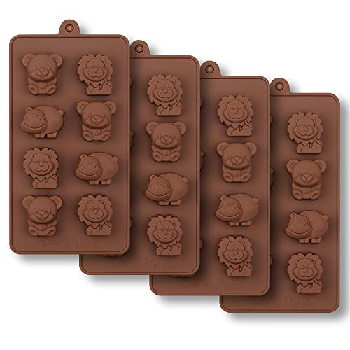 homEdge 8-Cavity Animal Chocolate Mold, Set of 4PCS Food Grade Non Stick Silicone Mold with Bear, Lion and Hippo for Candy, Chocolate, Ice Cube