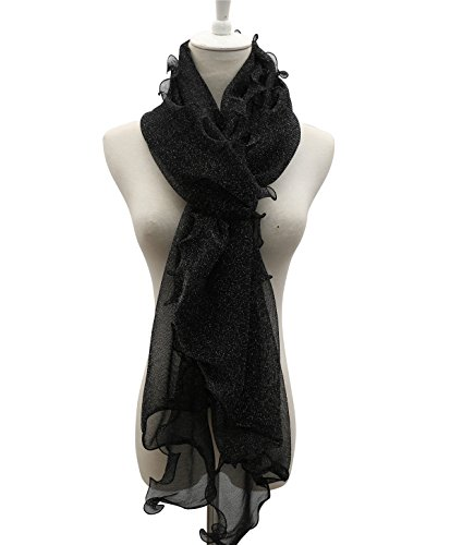Women Lightweight Ruffle Wrap Scarf - 2018 New Fashion Design For Spring Summer, Baby Soft, With Metallic Lurex Reach USA CP65 Standard, 30-Day