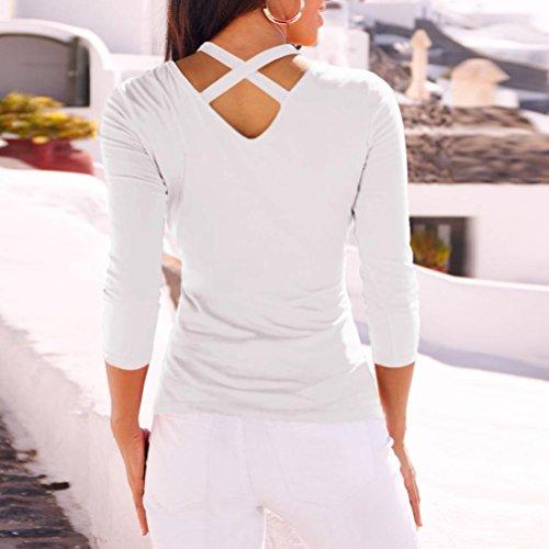 Blouse Nouveau zahuihuiM Nu Shirt Automne Tops Mode X Longues 2018 V T Dos Femmes Cou Manches Nouveau Blanc Printemps Cross Solide Casual wUqUIAB
