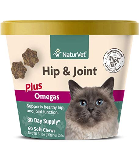 NaturVet - Hip & Joint for Cats Plus Omegas - 60 Soft Chews | Help Supports Healthy Hip & Joint Function | Enhanced with Antioxidants, Omega-3 & 6 Fatty Acids | 30 Day Supply (Joint Cats Chews)