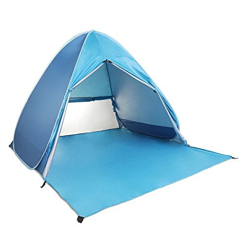 Beach Tent, Pop Up Beach Shelter Outdoor Instant Sun Shade Portable Kids Playing House UV Shade Baby Sun Tent for Family Activities Garden/Camping/Fishing/Beach Times with Zipper Door (for 2-3 Person)