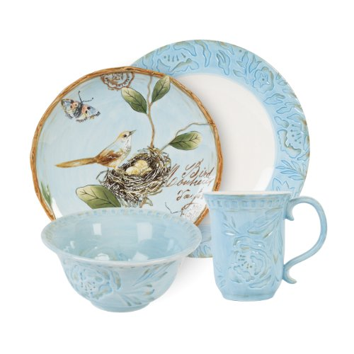 Toulouse Collection, 4-Piece Dinnerware Set, Blue (Fitz & Floyd Dishwasher Safe Plates)