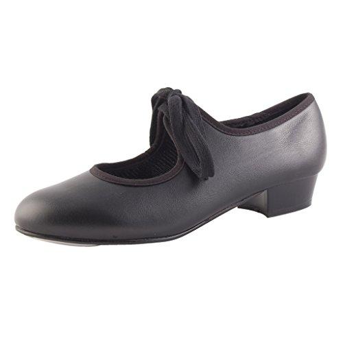 Dance Gear Tap Shoes Low Heel PVC Black size 6