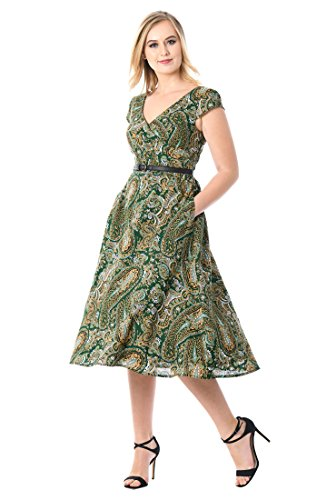 eShakti Women's Paisley Print Asymmetric Surplice Dress 2X-22W Regular Deep Green/Multi (Smocked Twill Dress)