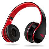 Sentey® Headphone Headset Flow (Black/red) Music Foldable for Kids or Adults Easy Storage with Detachable 3.5 Mm Audio Cable That Includes In-line Microphone and Controls for Running , Sports and Many More, Compatible with Any 3.5mm Connector Device Ls-4222