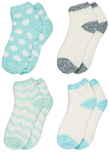 Socks Fuzzy Dot (Trimfit Women Indoors, Hospital Socks, Fuzzy Slipper Socks (Pack of 4), Dots - Blue/Green/Grey, Shoe Size: 9-11)