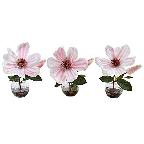 lia Silk Arrangement in Votive Glass Vases, Pink/White, 3 Piece ()