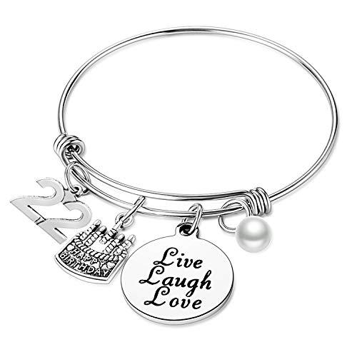 Nimteve Birthday Gifts for Her Expandable Bangle Birthday Bracelets for Women Charm Bracelet Happy Birthday Jewelry Gift Ideas (22nd Birthday)