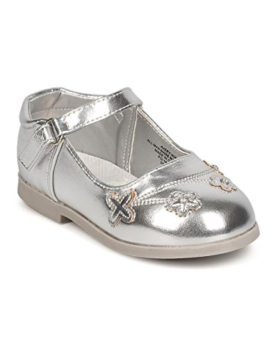 (Aadi Girls Metallic Leatherette Round Toe Flowers Mary Jane Flat (Infant) FC65 - Silver (Size: Toddler 7))
